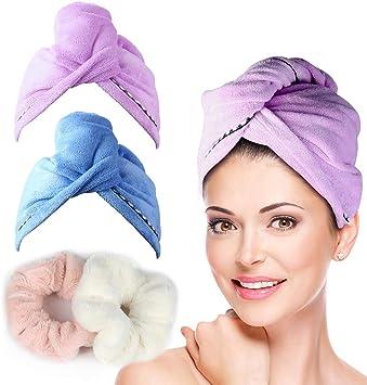 l/éger et absorbant Fleur de bain en microfibre Serviette pour cheveux blanc Taille unique