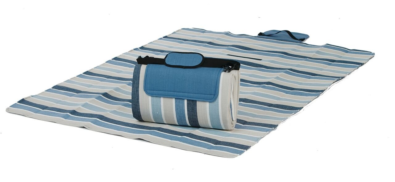 Picnic Plus Mega Mat 100% Waterproof Padded Picnic Blanket Beach Mat Camping Mat Outdoor Blanket Play Mat, Seats 2-3 Persons Plus Gear Opens to 48''X 60'' (Blue Stone Stripe) by Picnic Plus