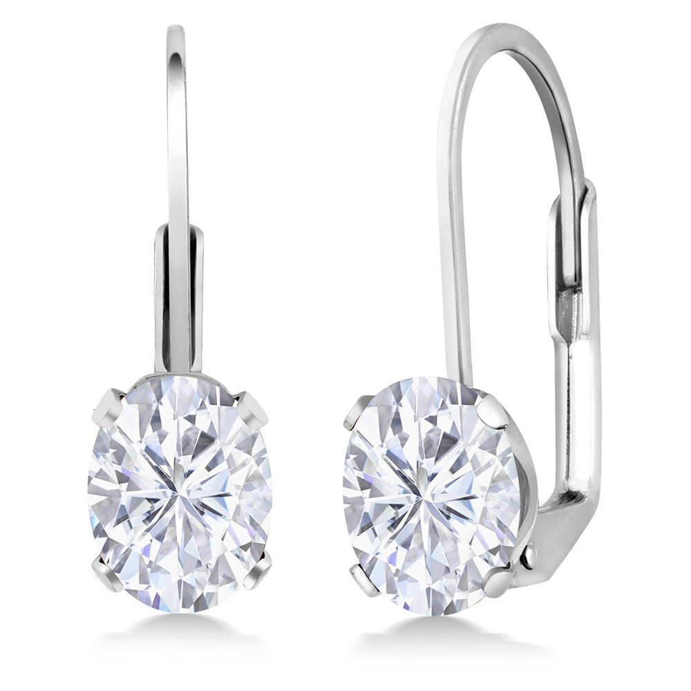 1.68 Ct Oval White Created Moissanite 925 Sterling Silver Leverback Earrings