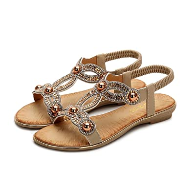 8a298121f42d HRN Women s Flat Sandals Flat with Open Toe Beach Shoes Bohemian Rhinestones  Large Size Sandals