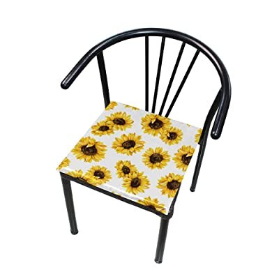 """Bardic HNTGHX Outdoor/Indoor Chair Cushion Summer Sunflower Square Memory Foam Seat Pads Cushion for Patio Dining, 16"""" x 16"""": Home & Kitchen"""
