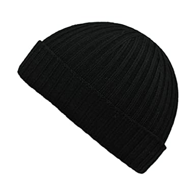XPACCESSORIES Ribbed Tunr Up Beanie Merino Wool Hat Black  Amazon.co.uk   Clothing c2222ff7bd9
