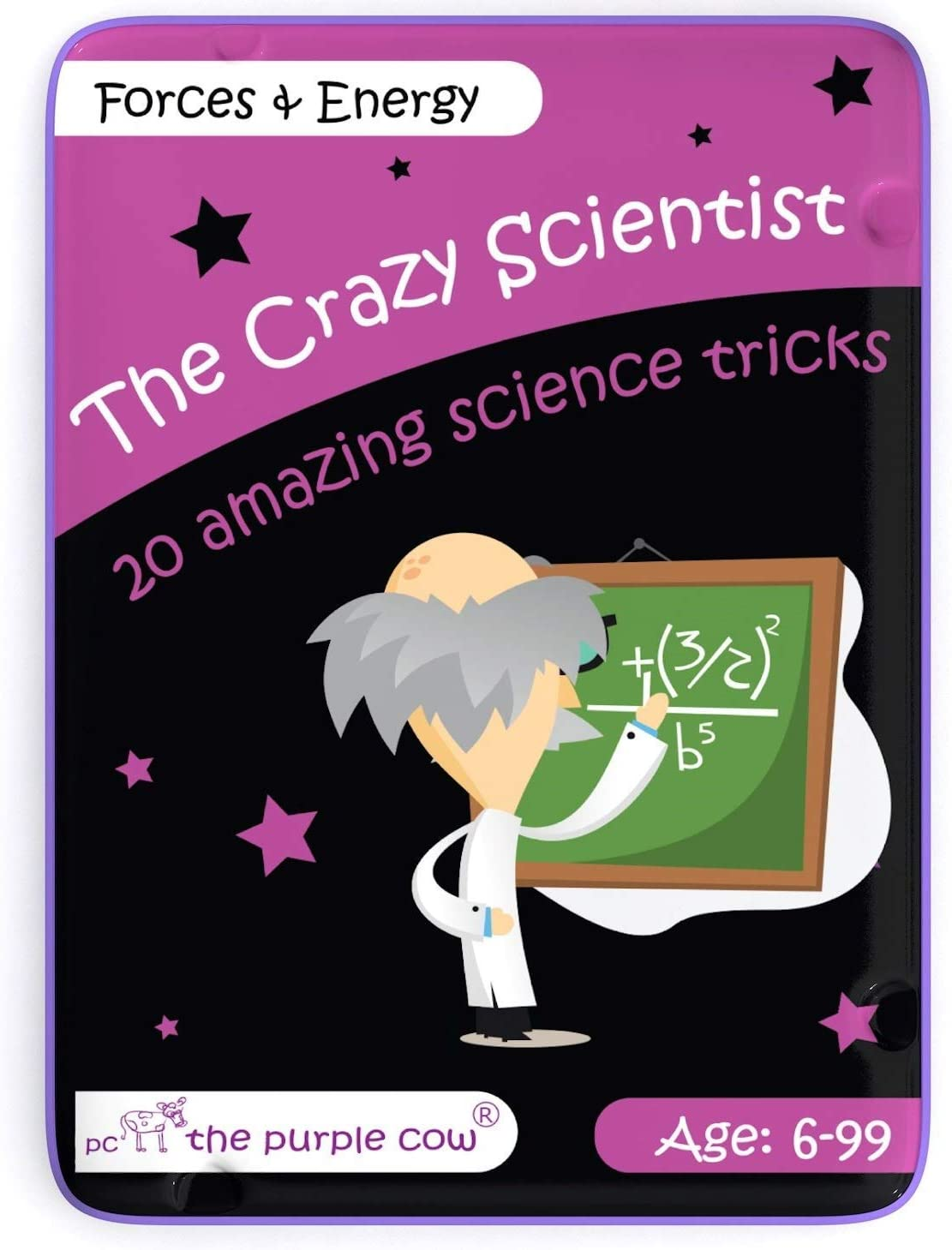 The Purple Cow- The Crazy Scientist Science Tricks Card Set, Forces and Energy, Science experiment kit for kids both boys and girls 6 years and older, instructions inside – amazing STEM learning
