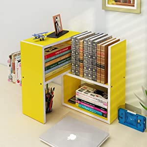 PLLP Wall-Mounted Decorative Racks,Shelving Adjustable Freestanding Natural Wood Desktop Storage Organizer Display Shelf Rack/Counter Top Bookcase Bookshelf,Yellow