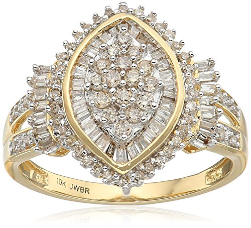 Jewelili 10kt Yellow Gold Diamond Cocktail Cluster Ring (1/2 cttw), Size 7