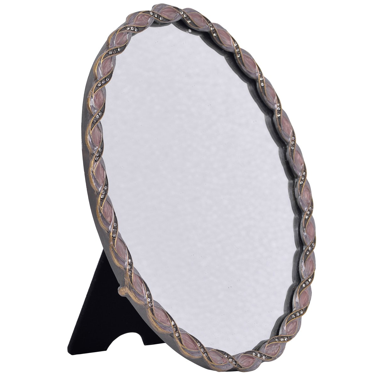 NIKKY HOME Vintage Desktop Pewter Makeup Vanity Mirror, Oval