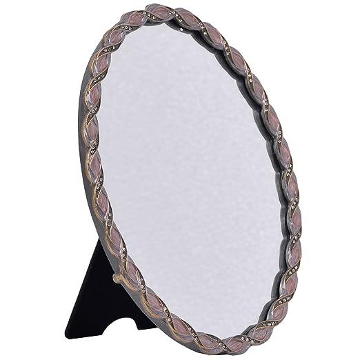 NIKKY HOME Vintage Desktop Pewter Makeup Vanity Mirror, Oval