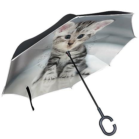 e05e1bd2dfeb ALAZA Cat Kitten Inverted Umbrella Double Layer Windproof Reverse Umbrella