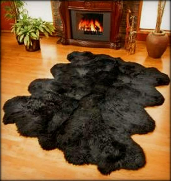 FUR ACCENTS Thick Shag Faux Fur Sheepskin / Black Bear Area Rug Random Pelt Design Black 5'x10'