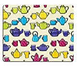 MSD Natural Rubber Gaming Mousepad IMAGE ID 19856643 Set of cartoon style patterned teapots and matching mugs seamless background tile Please note This file is EPS10 and uses transparencies