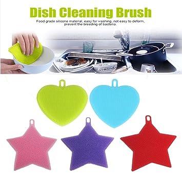 zjene 5pcs antibacteriano silicona Dish Scrubber Esponja Cepillo para lavar platos limpiador de punta de soldadura de limpieza multiusos como Limpiador de ...