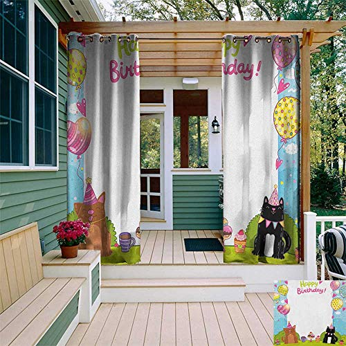 Heart Pewter Cake - leinuoyi Kids Birthday, Outdoor Curtain Kit, Party Black and Brown Cats Cakes Balloons Heart Traditional Polka Dots Art, Set for Patio Waterproof W72 x L96 Inch Multicolor