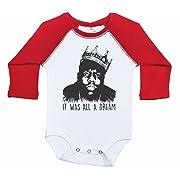 Biggie Smalls Long Sleeve Raglan Baby Onesie/IT was All A Dream/Unisex (3-6M, White & RED)