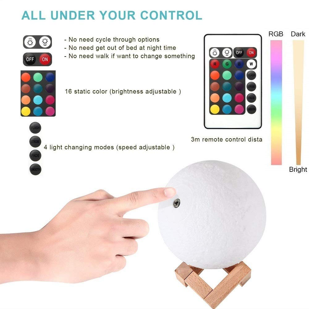 Moon Lamp, 16 Colors 3D Printed Moon Night Light (Large, 5.9in) with Stand, USB Charging, Touch & Remote Control - Cool Nursery Decor for Baby, Top Birthday Party Gift Christmas Gifts by YICAI (Image #7)