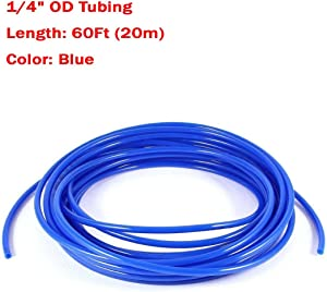 Malida Size 1/4 Inch, 20 Meters 60 feet Length Tubing Hose Pipe for RO Water Filter System (Blue 60FT(20M))