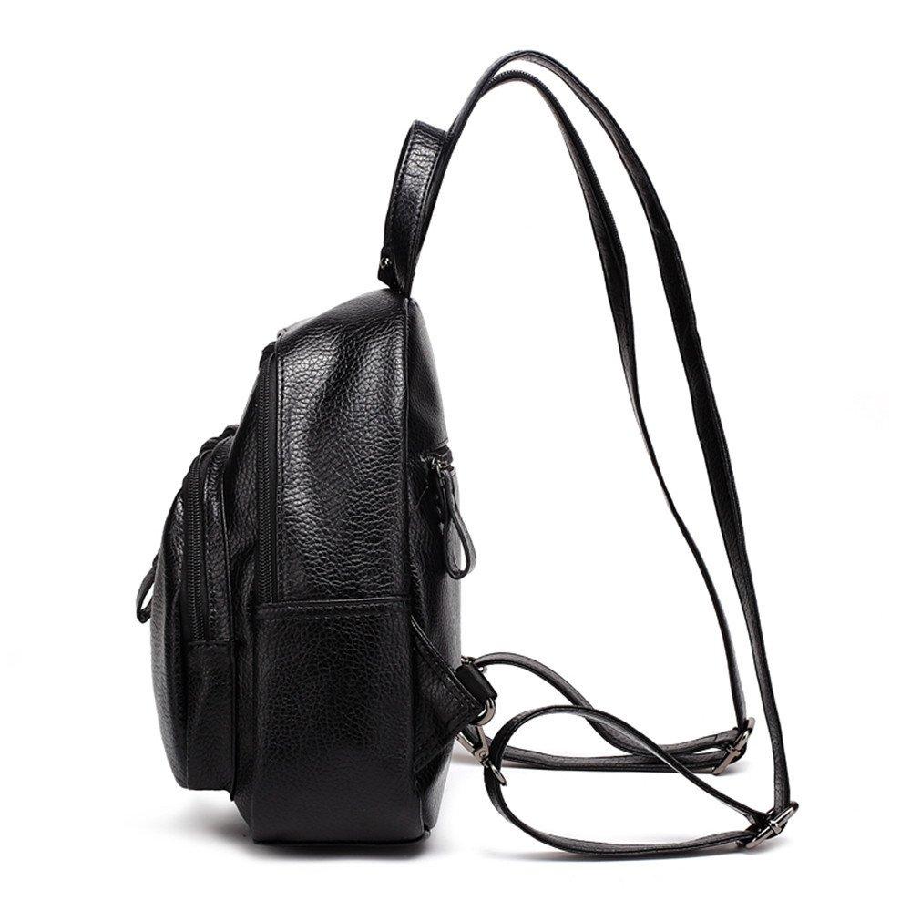 SJMMBB Fashion leather backpack leisure travel bag,black,26X23X9CM
