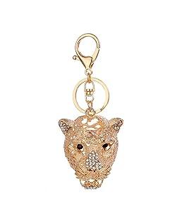 Emerayo Creative 3D Handmade Blingbling Crystal Leopard Head Shape Automatic Car Keys Ornaments Rhinestone Keyring Metal Key Buckle Loop Charm Pendent Gift (Gold, One)