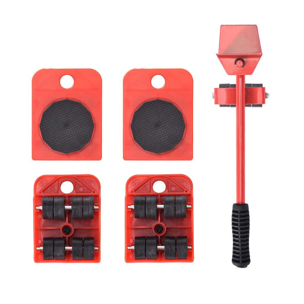 Bieay Furniture Lifter, 4 Packs 3.94 x 3.07 Inches Furniture Slides Kit, Heavy Furniture Roller Move Tools Max Up for 200kg/440 lb, 360 Degree Rotatable Pads (Red)