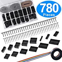 SIQUK 780 Pieces 2.54mm Pitch Dupont Housing Connector 1/2/3/4/5/6/7/8/9 Pin Dupont Male Female Crimp Pins with 10 Wire Rainbow Color Flat Ribbon IDC Cable Assortment Kit