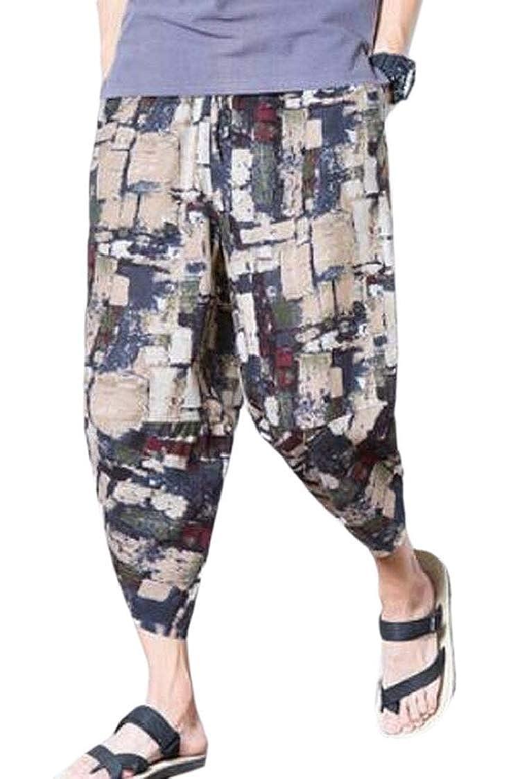 Mens Patchwork Shorts Loose Cotton Linen Harem Capri Pants