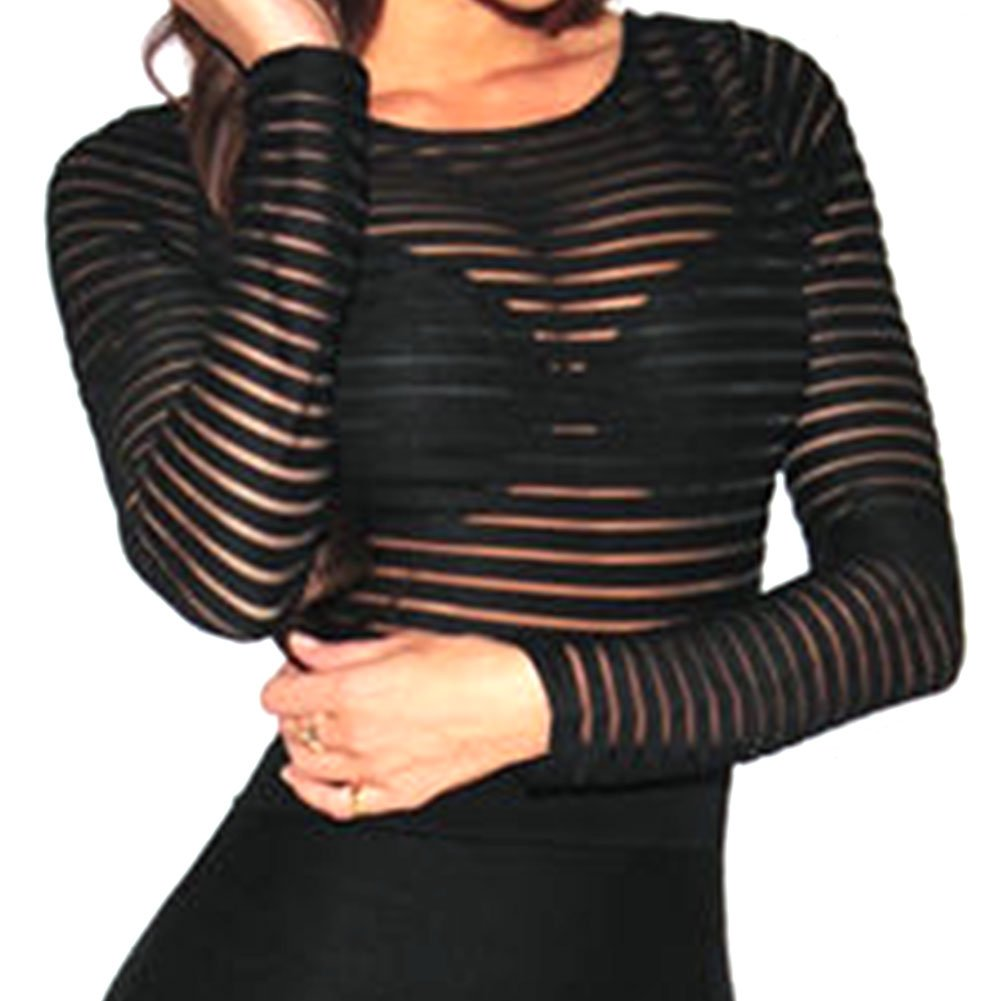 5fec15a6010 Bocaoying Women s Sexy See Through Sheer Striped Long Sleeve Bodysuit  Romper Tops Clubwear at Amazon Women s Clothing store