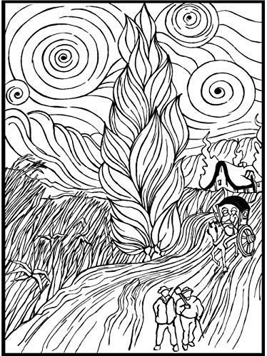 Colorvelvet La8 Van Gogh Strada Con Cipresso E Stella Disegno 47 X 35 Cm
