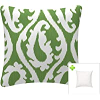FBTS Prime Outdoor Decorative Pillows with Insert Green Patio Accent Pillows Throw Covers 18x18 Inches Square Patio…