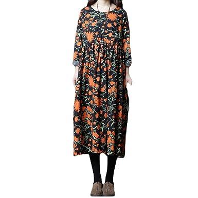 Longra Maxikleider Damen Herbst -Winterkleid Leinenkleid Langes Kleid  Baumwolle Boho Maxi Kleid Langarmkleid Freizeitkleid Damen 51f2590bdc