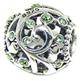 Solid 925 Sterling Silver ''Barrel with Vine Design and Green CZ'' Charm Bead 191 for European Snake Chain Bracelets