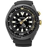 Seiko Kinetic Black Ion Silcone Strap Black Dial Men's Watch SUN045