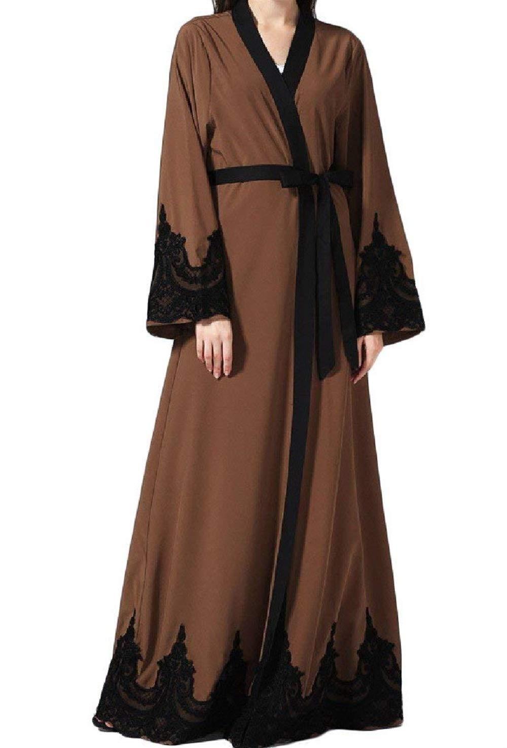 Brown Joyccu Women Turkey Arab Cardigan Gowns Middle East Long Dress