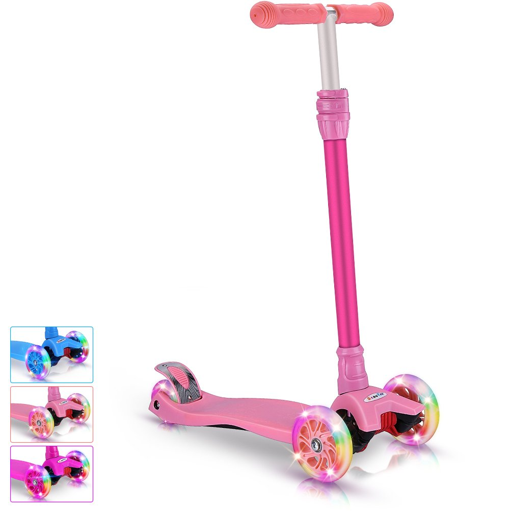 BELEEV Kick Scooter for Kids 3 Wheel Scooter, 4 Adjustable Height, Lean to Steer with LED Light Up Wheels for Children from 3 to 13 Years Old (Pink)