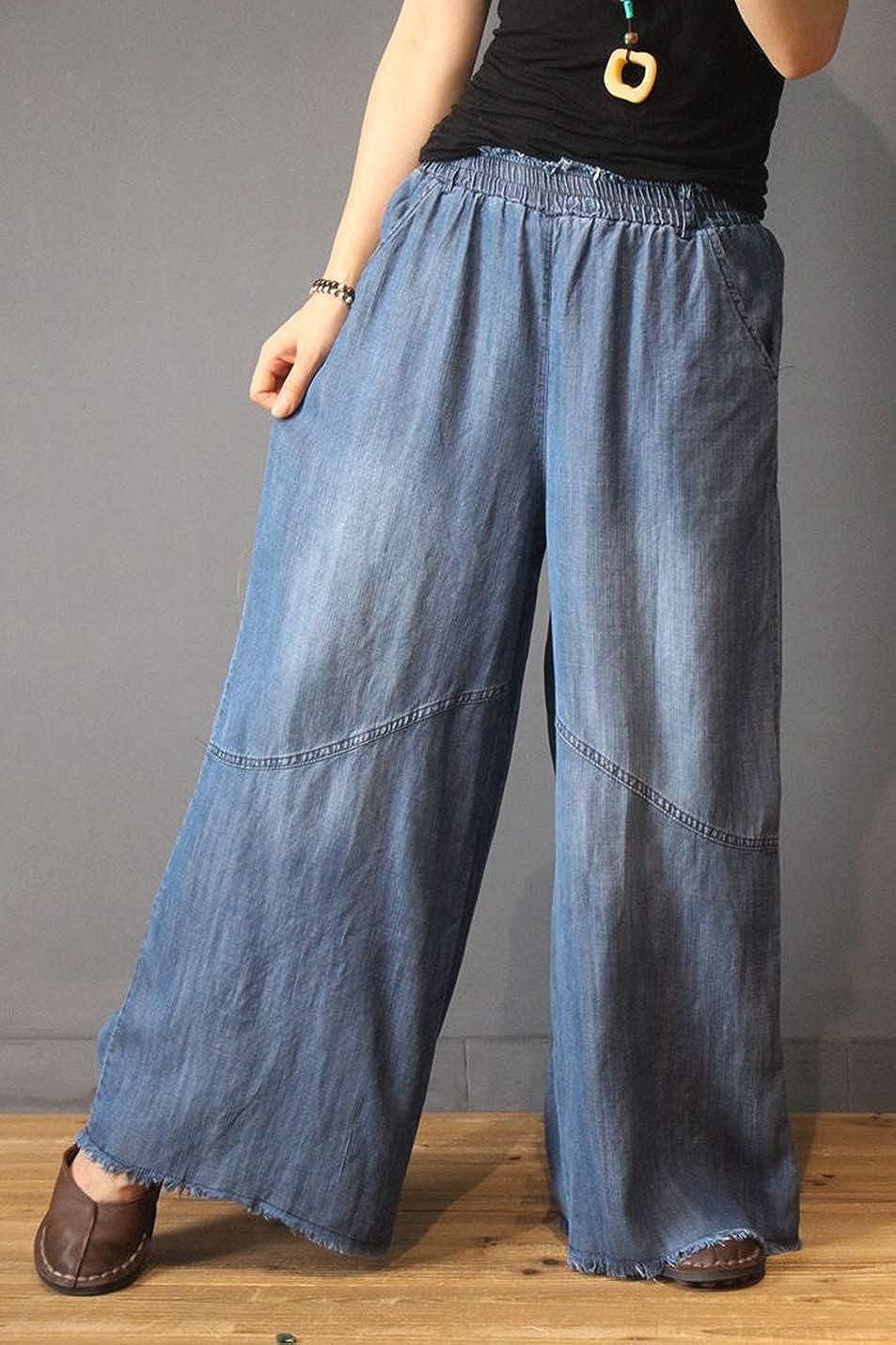 Yimoon Womens Elastic Waist Denim Wide Leg Pants Loose Jeans Low Crotch Herem Pants