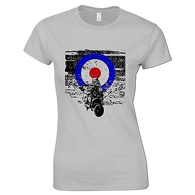 35b0849ec4 Women s Scooter T Shirt Target Retro Mod Scooters T Shirts  Amazon.co.uk   Clothing