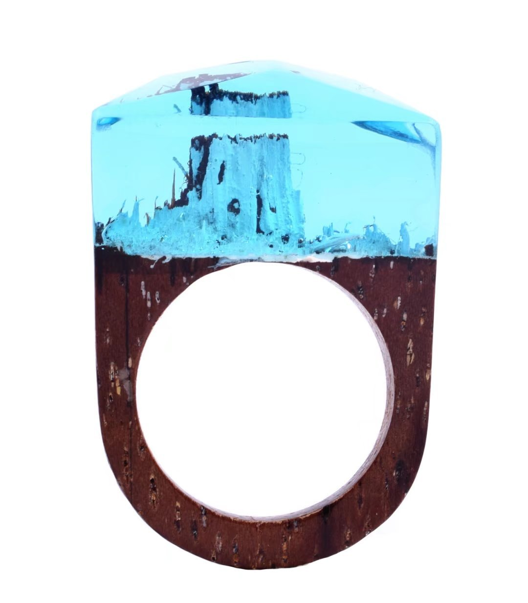 Handmade Wood Resin Ring With Alaska Snow Landscape Inside Jewelry