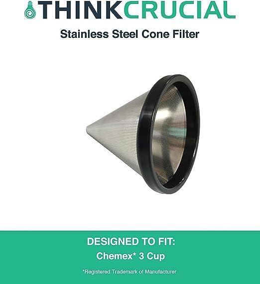 Think Crucial lavable y reutilizable filtro de café de cono de acero inoxidable para chemex-brand 3 taza cafetera ...