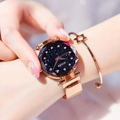 Relojes para Mujeres - Starry Sky Dial Movimiento De Cuarzo Imán Adsorción Moda Impermeable Tendencia Simple