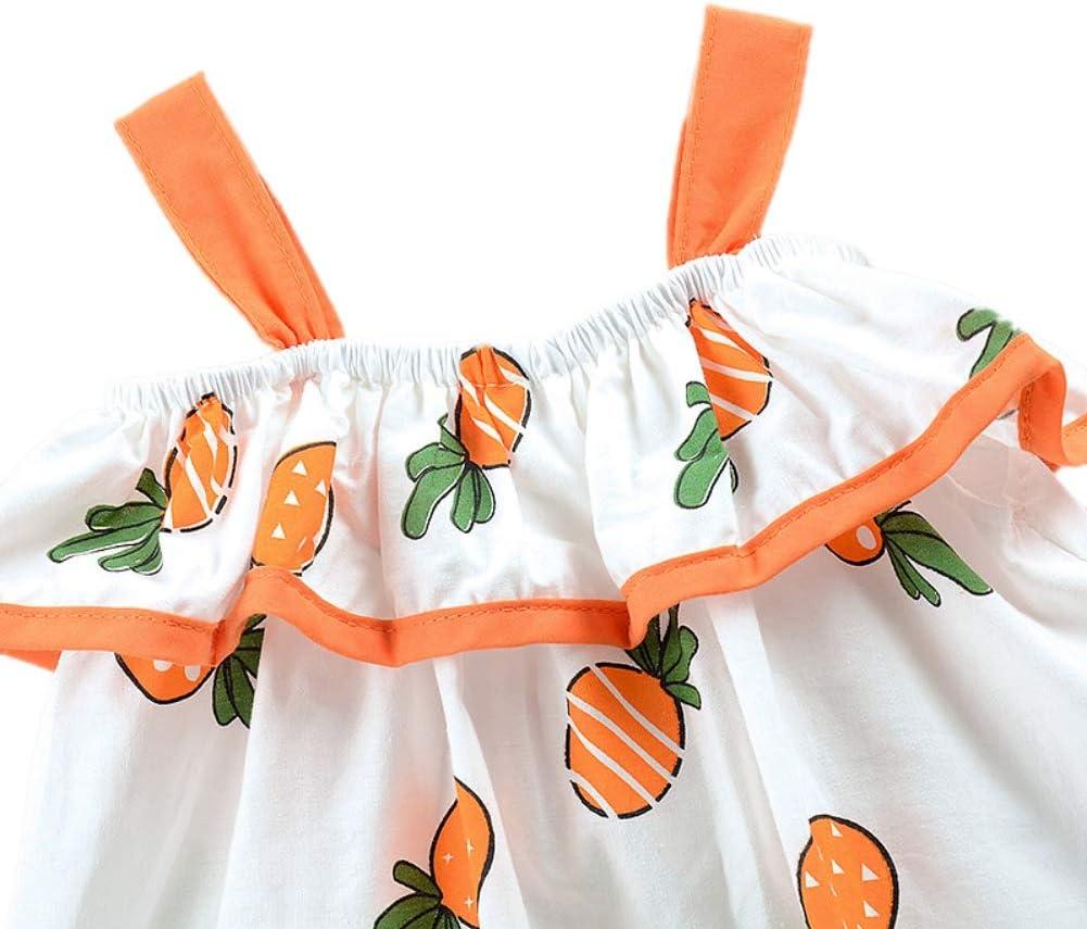 Handfly 2 Unids Baby Girls Dress Hat Set Ni/ños Ni/ñas Linda Flor Vestidos sin mangas Princesa Vestido con sombrero para el sol para el beb/é del ni/ño 6 meses-4 a/ños