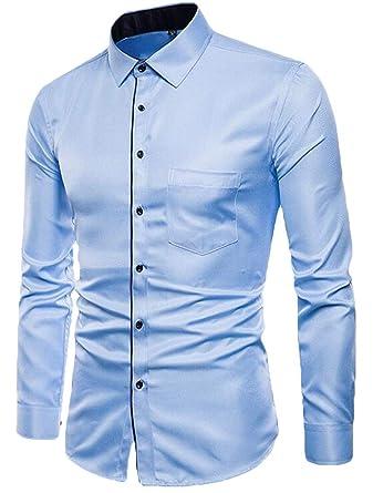 Keaac Mens Long Sleeve Button Down Dress Shirt Plaid Checked