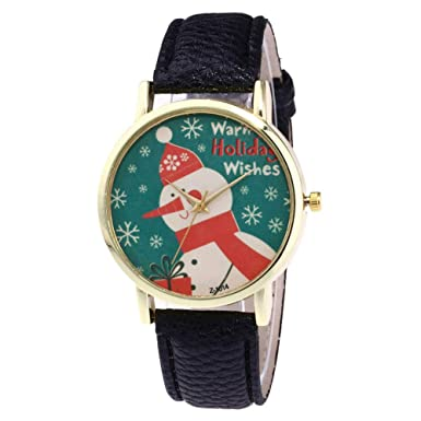 Amazon.com: Womens Wrist Watch, Iuhan Clearance Christmas Snowman Pattern Analog Female Watches Lady Watches Leather Watch (Khaki): Cell Phones & ...