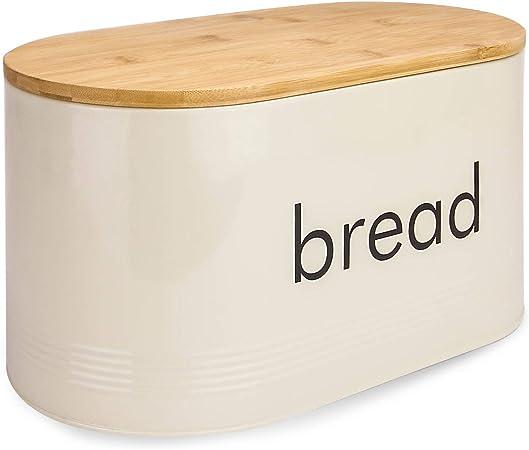 Include coperchio per tagliere per pane in bamb/ù Contenitore per pane grigio pastello stile vintage Portapane da cucina con coperchio in bamb/ù M/&W