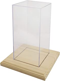 "product image for Display Case for Awards, Trophies, Collectibles or Dolls (2 pcs) - 4"" Square X 8"" Tall - 2 Boxes Per Pack Includes 2 Wooden Bases"