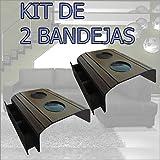 Bandeja/Esteira Porta Copos para Braço de Sofá - Madeira Tabaco, Kit com 02 peças com porta controle
