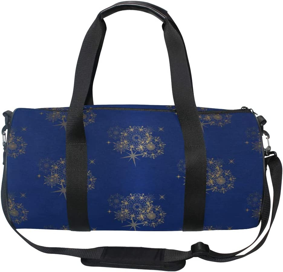 MALPLENA Arty Christmas Artificial Snow Snowflakes Drum gym duffel bag women Travel Bag
