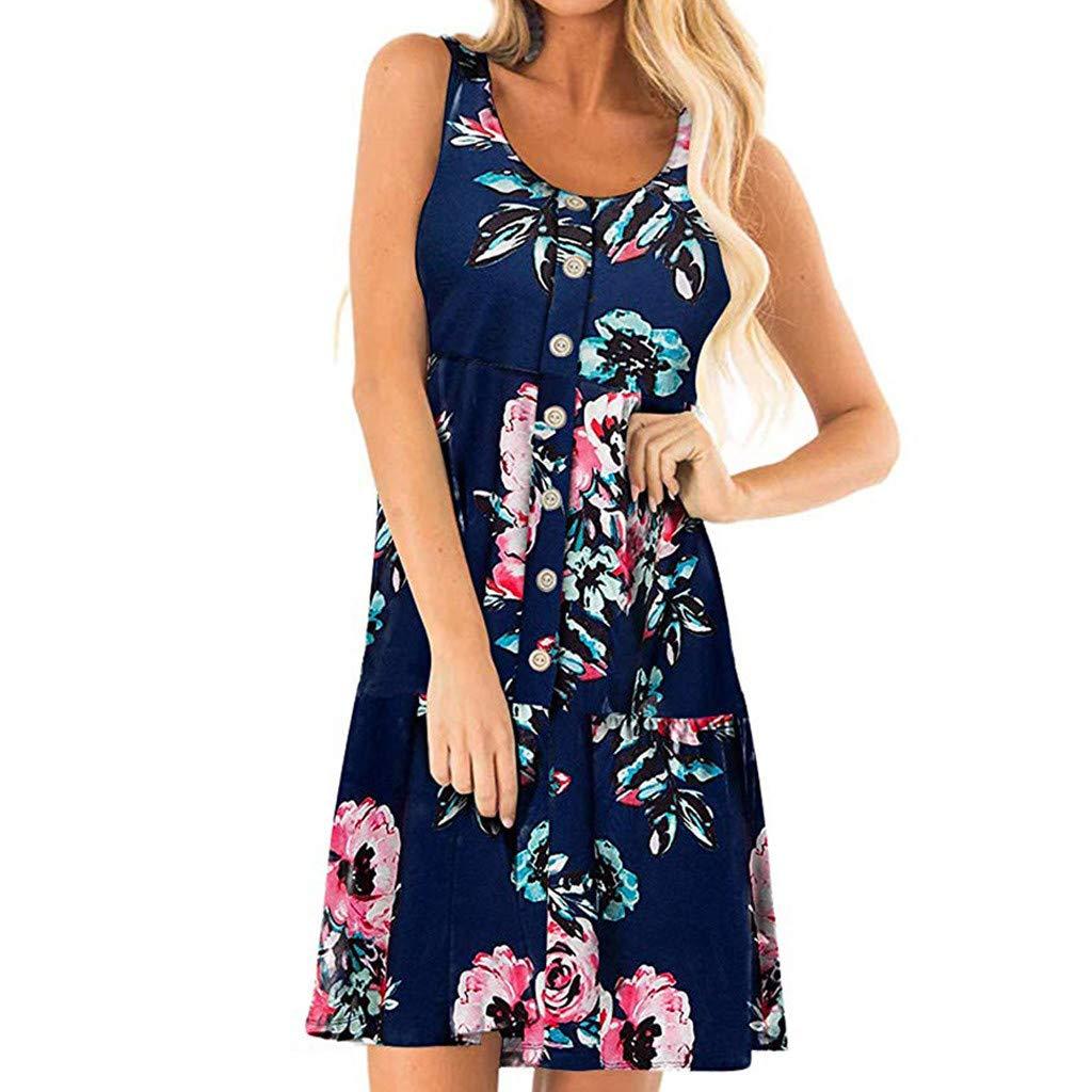Hopeg Women Casual Button Sleeveless U Neck Floral Print Dresses - A-line Loose Evening Party Short Skirt,Summer Feel Cool,Home Outdoor by Hopeg