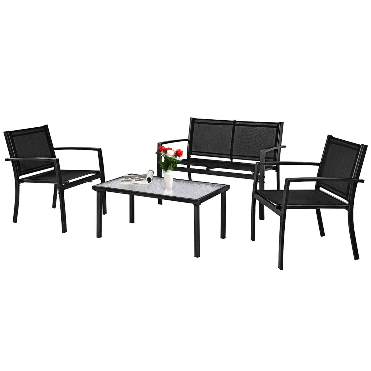 Tangkula Patio Furniture Set 4 PCS, Tempered Glass Coffee Table Loveseat for Backyard Lawn Pool Balcony, Sturdy Armrests for Relaxing, Patio Conversation Set