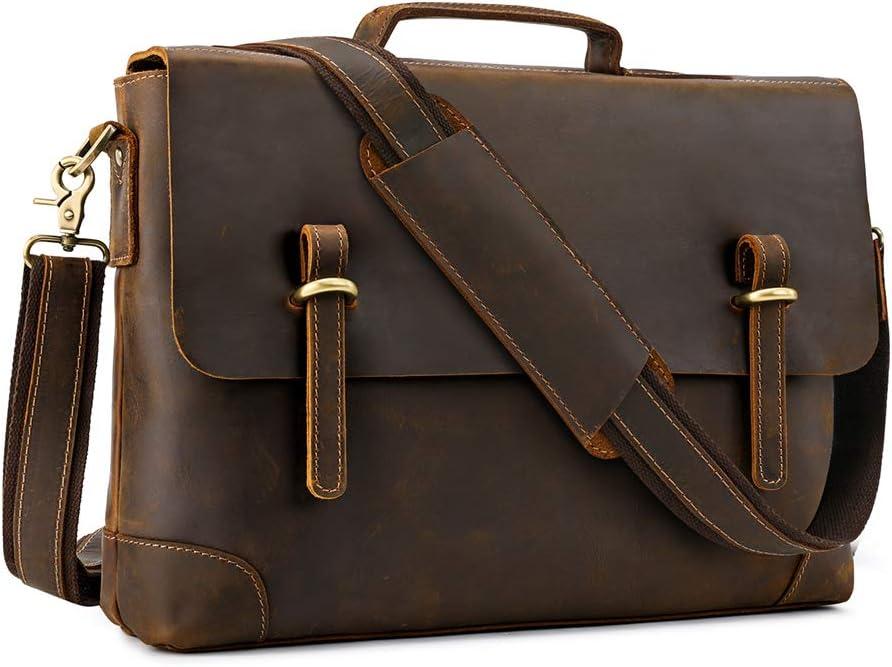 Kattee Laptop Shoulder Bag for Men, 15.6 Inch Laptop Messenger Bag Genuine Leather Sleeve Case