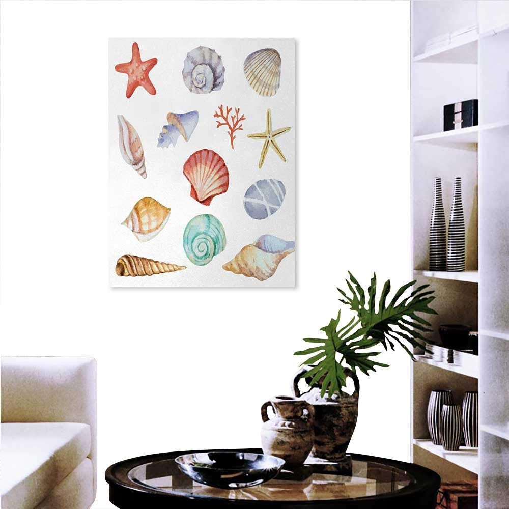 """familytaste Nautical Decorate Stickers for Wall Collection of Different Type Seashells Scallop Mollusk Summer Exotic Creatures Animals Wall Art Stickers 32""""x48"""" Multi"""