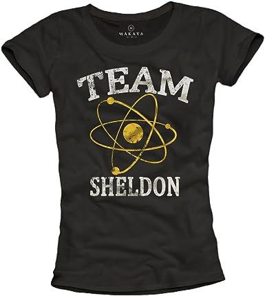MAKAYA Team Sheldon - Camiseta Negra para Mujer: Amazon.es: Ropa y accesorios