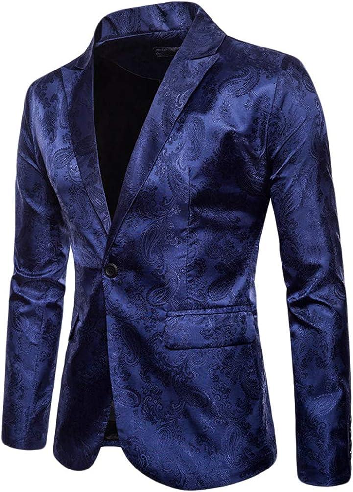 WanYangg Blazer da Uomo Elegante Un Pulsante Giacca da Blazer da Party Stampa Scura Stile Palazzo Fantasia Tempo Libero Slim Fit Blazer da Cerimonia Matrimonio